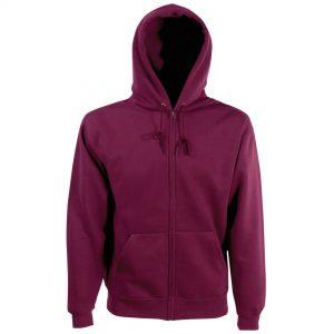 zipped hoody burgandy