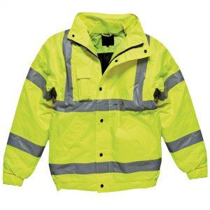 yellow hi-vis bomber jacket