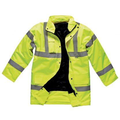 yellow hi-vis coat
