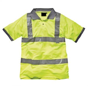yellow hi-vis polo