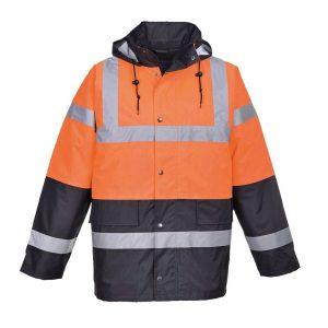 2 tone hi-vis jacket orange and navy