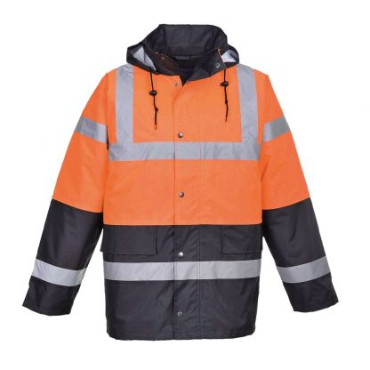 2 tone hi-vis jacket orange and navy
