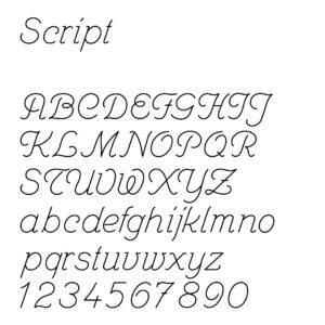 engraving font sample script