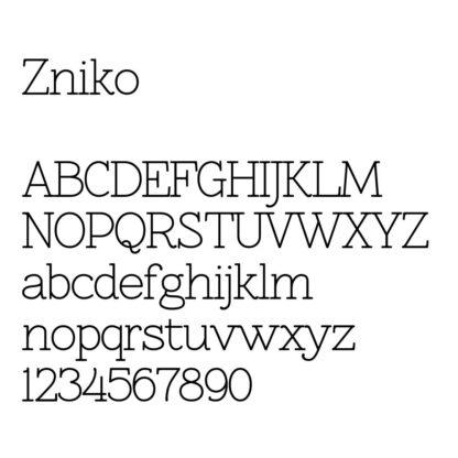 engraving font sample zniko