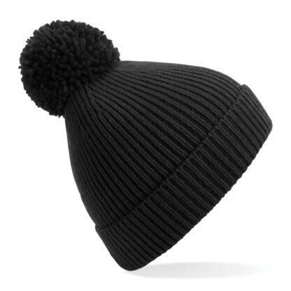ribbed knit beanie black
