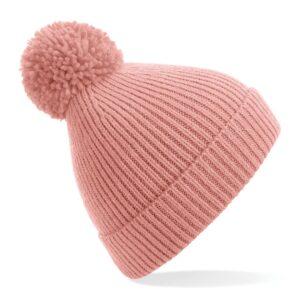 ribbed knit beanie blush