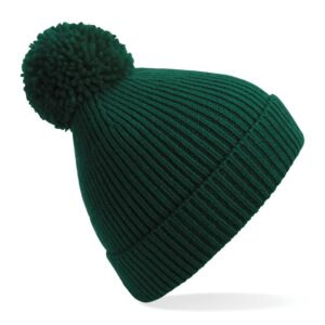 ribbed knit beanie bottle green