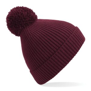 ribbed knit beanie burgundy