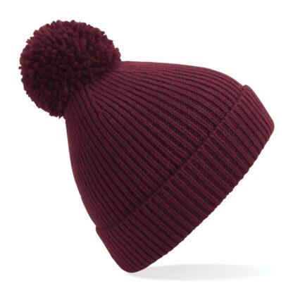 ribbed knit beanie burgundy
