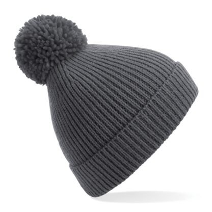 ribbed knit beanie graphite grey