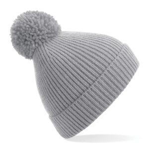 ribbed knit beanie light grey