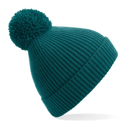 ribbed knit beanie ocean green
