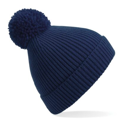 ribbed knit beanie oxford navy