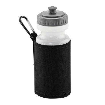 black water bottle and holder