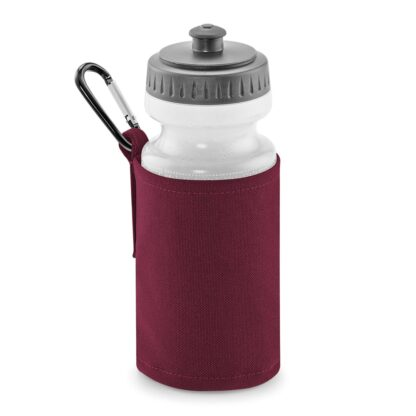 burgundy water bottle and holder