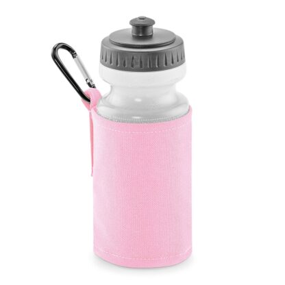 pink water bottle and holder