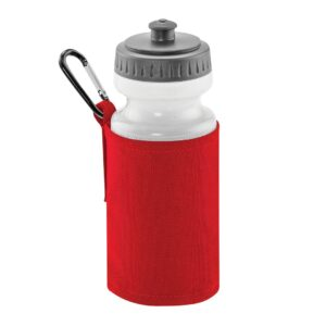 red water bottle and holder