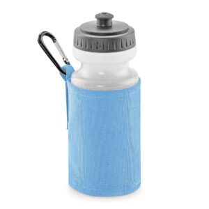 sky blue water bottle and holder