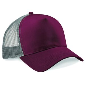 snapback trucker cap burgundy light grey