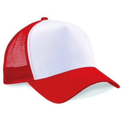 snapback trucker cap red white