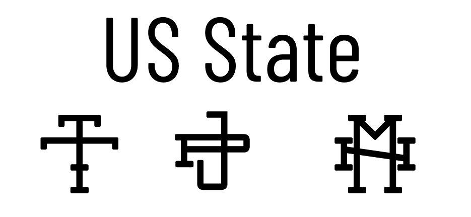 us state monogram font