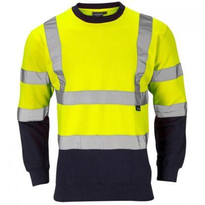 hi vis sweatshirt two tone yellow blue